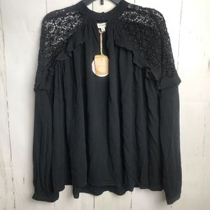 Umgee Long Sleeve Black Lace Top